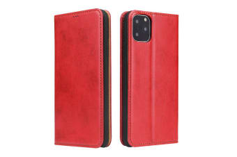 For iPhone 11 Pro Max Case Leather Flip Wallet Protective Cover with Stand Red