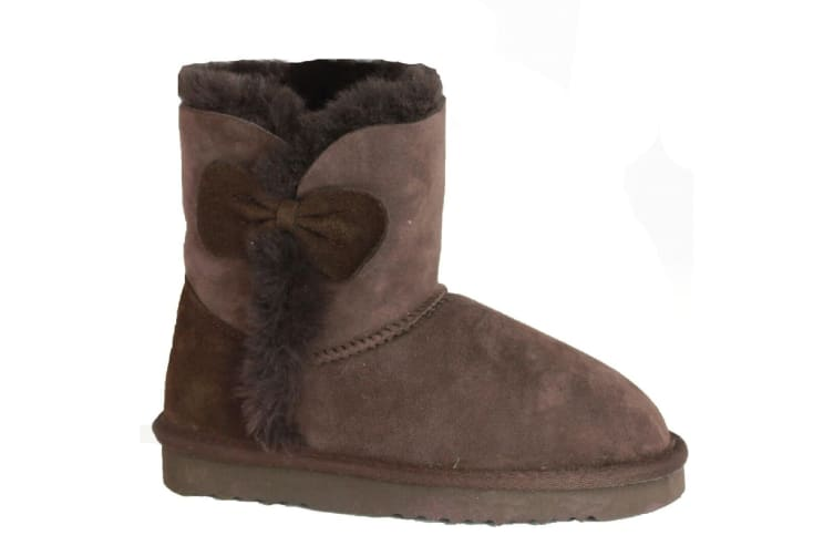 Eastern Counties Leather Childrens/Kids Coco Bow Detail Sheepskin Boots (Chocolate) (11 Child UK)