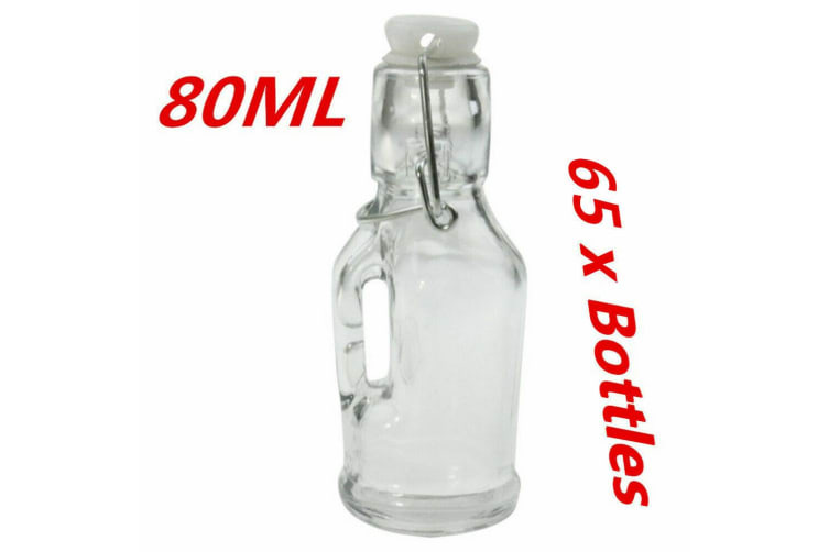 65 x Mini Small Glass Clip Jars 80ML with Handle Wedding Favors Lolly Jar Oil Bottle