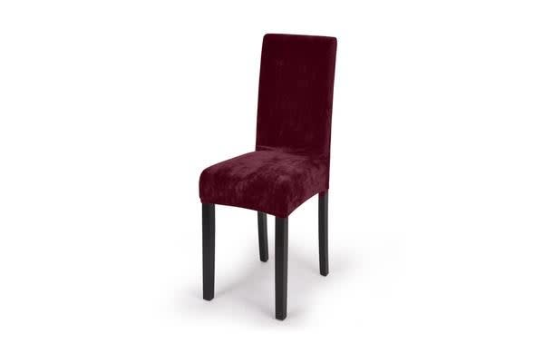 6x Plush Burgundy Super Fit Removable Chair Cover