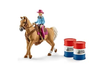 Schleich Barrel Racing with Cowgirl Toy Figure Playset
