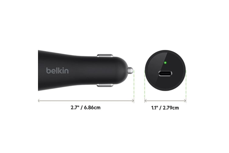 Belkin USB-C Car 3A 27W Charger USB Cable for Samsung/MacBook/Google Pixel Black