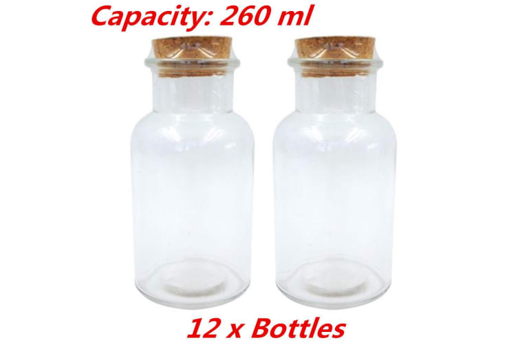 12 x Clear 260 ml Glass Multi-purpose Storage Bottle Jar with Natural Cork Lid Candy