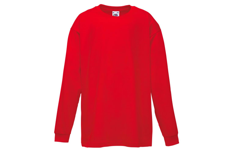 Fruit Of The Loom Childrens/Kids Long Sleeve T-Shirt (Pack of 2) (Red) (12-13)