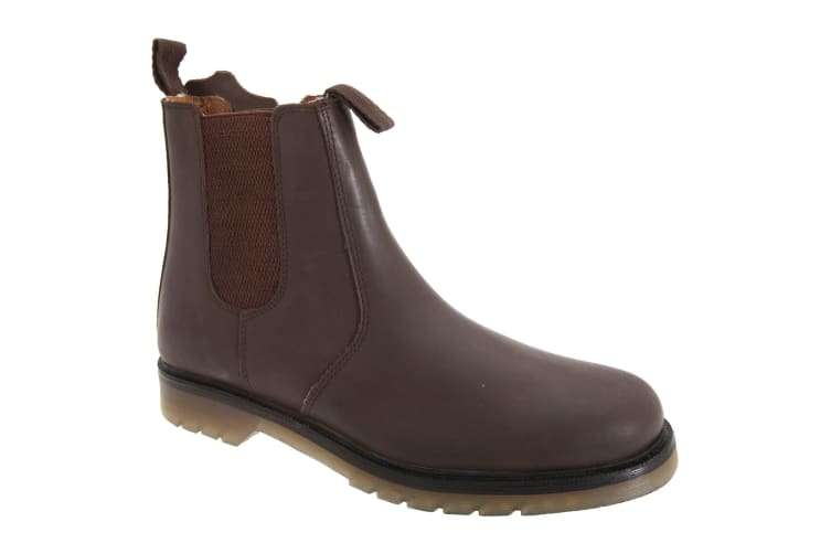 Grafters Mens Plain Leather Chelsea Boots (Dark Brown) (9 UK)
