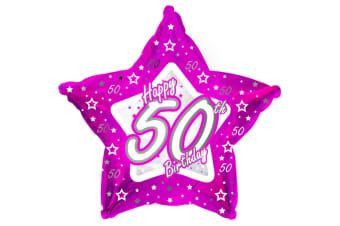 Creative Party Happy 50th Birthday Pink Star Balloon (Pink) (18in)