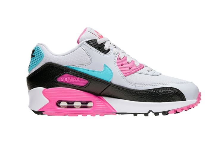 Nike Women's Air Max 90 South Beach Shoes (PinkTealWhiteBlack, Size 7.5 US)