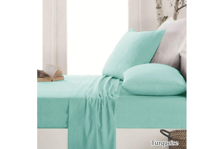 Easy-care Micro Flannel Sheet Set Turquoise Double