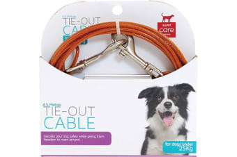 Tie Out Pet Cable Dogs Under 25kg - 4.5 Metres Long (All Pet)