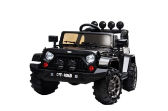 ROVO KIDS Electric Ride On Car 12V 4WD Jeep Inspired Boys Toy Battery Black