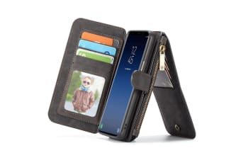 Black Retro Horse Textured Detachable Leather Wallet For Samsung Galaxy S9 Case