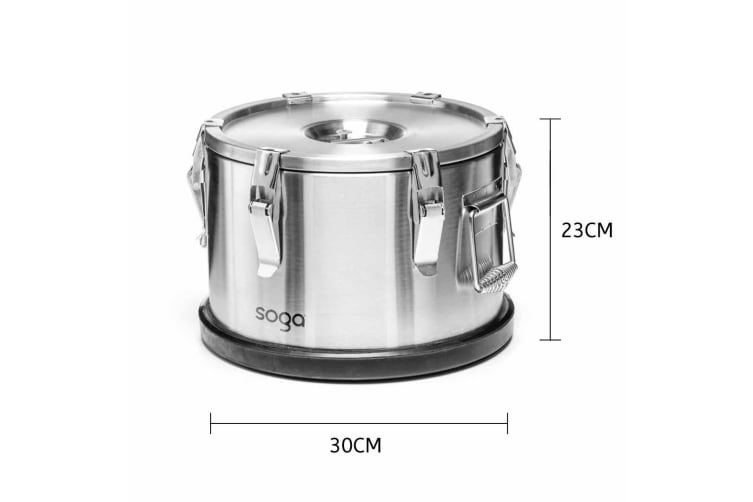SOGA 304 30*23cm Stainless Steel Insulated Food Carrier Food Warmer