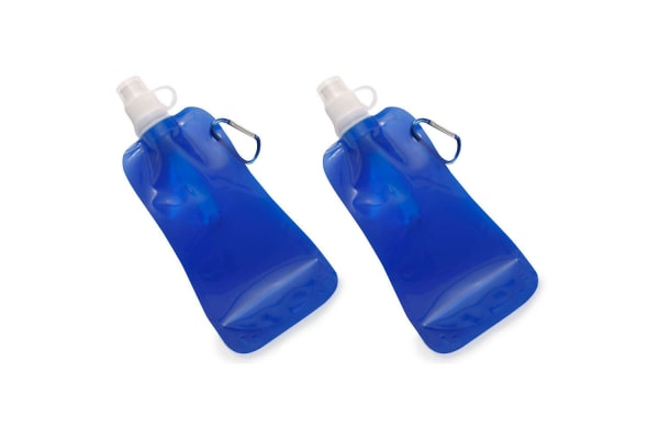 2x Doozie 450ml Collapsible Camping Water Drink Bottle Gym Sport BPA Free Blue