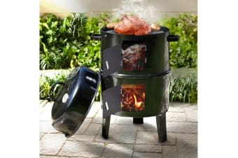 NEW 3in1 Portable Charcoal Vertical Smoker BBQ Roaster Grill