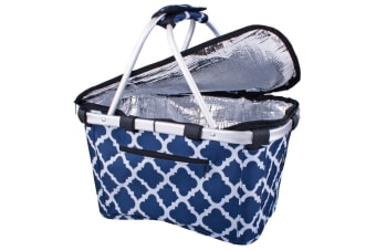 New Sachi Insulated Thermal Cooler Carry Basket W/ Lid Moroccan Navy