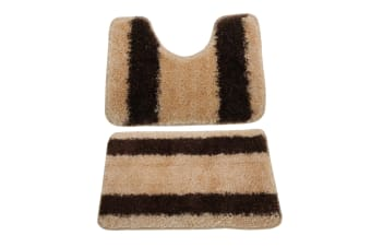 2 Piece Striped Shaggy Bath Mat And Pedestal Mat Set (Cream/Brown) (One Size)