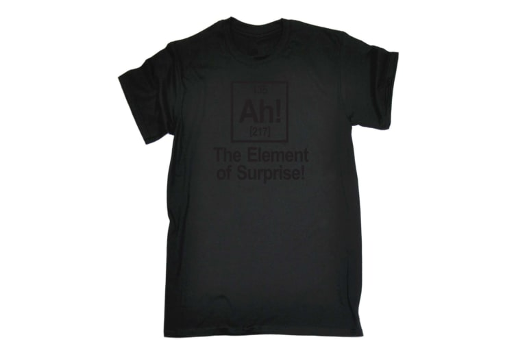 123T Funny Tee - Black The Element Of Surprise - (3X-Large Black Mens T Shirt)