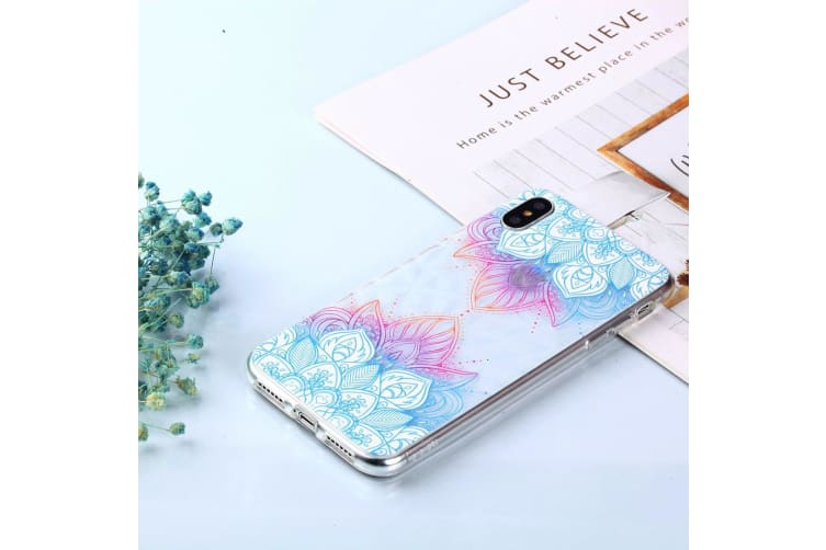 For iPhone XS MAX Cover Shockproof Slim Thin Soft Mobile Phone Case Blue Leaves