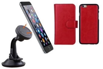 TODO Magnetic Quick Snap Car Suction Mount Leather Credit Card Case Iphone 6+ Plus - Red