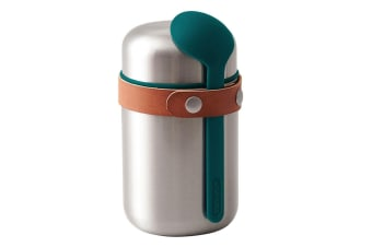 Black + Blum 400ml Vacuum Insulated Stainless Steel Food Flask w  Spoon Blue