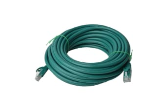 8WARE Cat6a UTP Ethernet Cable 30m Snagless Green