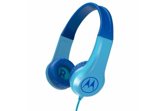 Motorola Kids Headphones w/ Mic & 3.5mm Audio Splitter - Blue