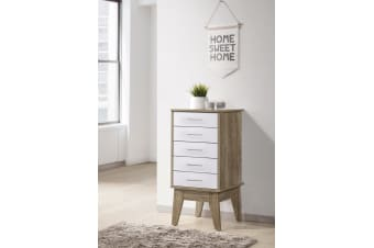Tallboy Slimboy 5 Chest of Drawers Storage Cabinet Scandinavian - Oak