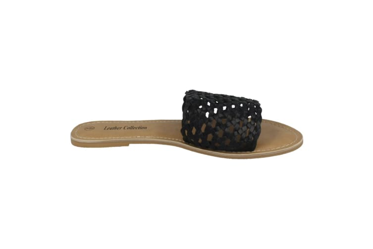 Leather Collection Womens/Ladies Flat Weave Mule Sandals (Black Leather) (UK Size 7)