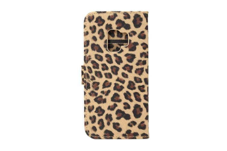 For Samsung Galaxy S9 Wallet Case Leopard Pattern Leather Shielding Cover Yellow