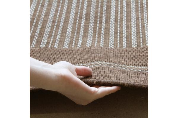 Indoor Outdoor Border Pattern Rug Brown 160x110cm