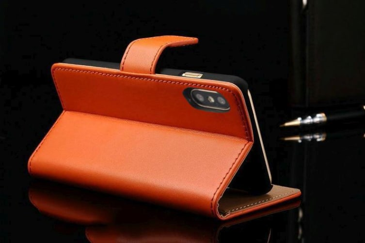 For iPhone XS X Wallet Case Elegant Slim Leather Cover Card Holder Orange