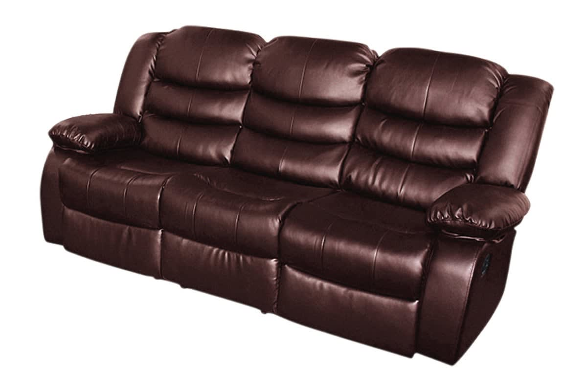 Bonded Leather Dream 3 Seater Recliner Couch (Brown)