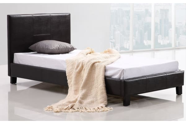 Single PU Leather Bed Frame Brown