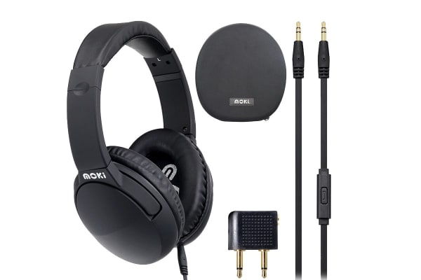 Moki Noise Cancellating Over Ear Headphones with Airline Adaptors & Pouch Black (ACCHPNCBK)