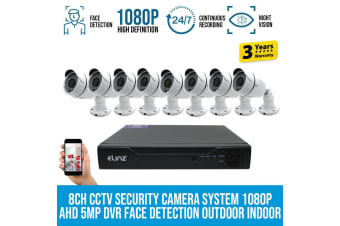Elinz 8CH CCTV Security 8x Cameras System 1080P DVR Face Detection