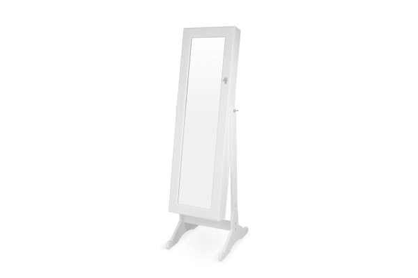 Ovela Mirrored Full Length Jewellery & Accessories Cabinet (White)