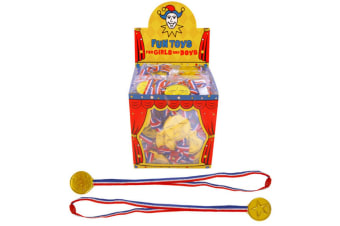 Henbrandt Classic Gold Party Plastic Medal (Box Of 120) (Red/Blue/White/Gold) (One Size)