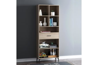 Wooden Bookcase Oak 5 Tier Display Shelving Cupboard Book CD DVD Storage Unit