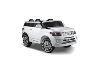 Kids Ride On Landrover Car (White)