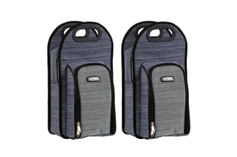 2PK Thermos Insulated 2 Wine Bottle Cooler Bag Storage Handbag Carrier Set GRY