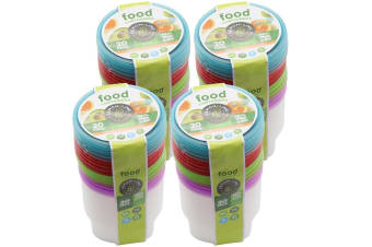 80PK Lemon & Lime 300ml Reusable Plastic Round Food Container w/Lid Takeaway