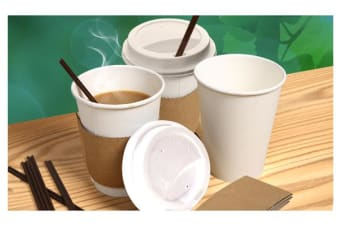 110x Disposable White Paper Coffee Cups 360ML/12oz