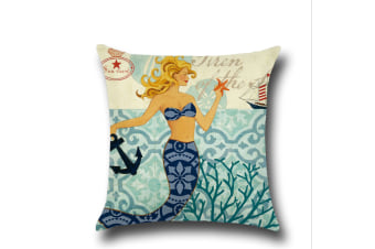 Mermaid Cotton Linen Decorative Throw Pillow Case Sets of 4 18X18 Inches 3