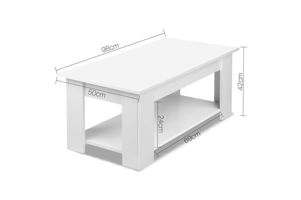 Lift Up Top Mechanical Coffee Table (White)