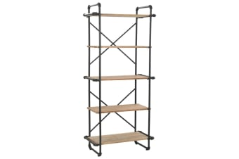 vidaXL Bookcase Solid Firwood and Steel 80x42x180 cm