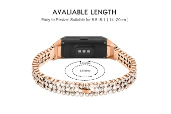 Select Mall Beaded and Sparkling Strap for Samsung Samsung Galaxy Fit SM-R370-Gold