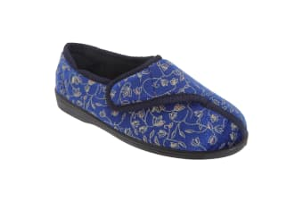 Zedzzz Womens/Ladies Janice Touch Fastening Floral Slippers (Navy Blue)