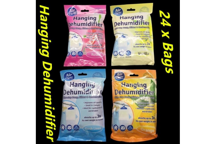 24 x Room Interior Dehumidifier Desiccant Damp Storage Hanging Bags Wardrobe Rooms