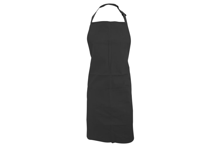 Bargear Adults Unisex Catering/Restaurant Bib Apron (Pack of 2) (Black) (One Size)