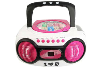 One Direction 1D Portable Cd Boombox Am / Fm Radio + Aux Input For Mp3 Player
